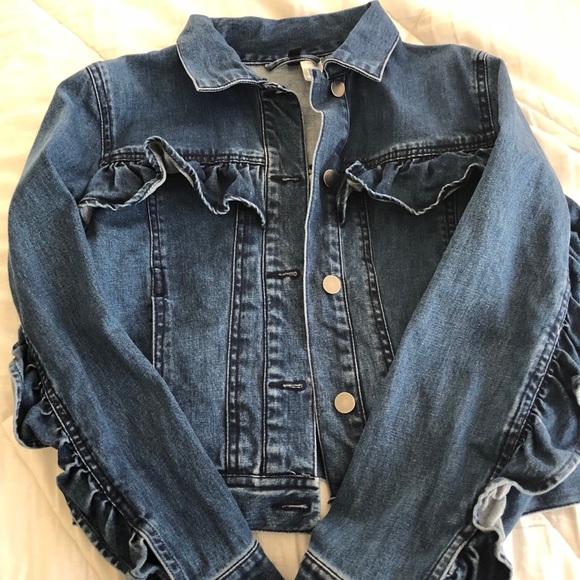 H&M Jackets & Blazers - Ruffle Jean Jacket